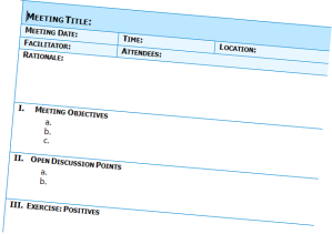 Meeting minutes with blue theme